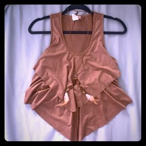 Tan crop top with built in necklace, size SM, used